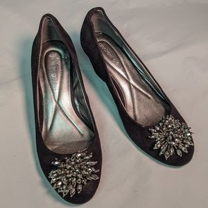 Andrew Geller Black Wedge with silver beaded decor